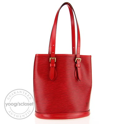 Louis Vuitton Special Order Red Epi Leather Petite Bucket Bag