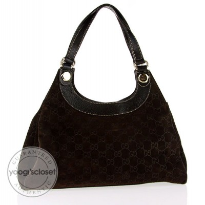 Gucci Brown GG Suede Hobo Bag