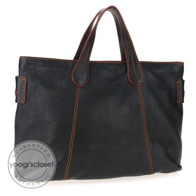 Tod's Black Pebbled Leather Contrast Stitch Tote Bag
