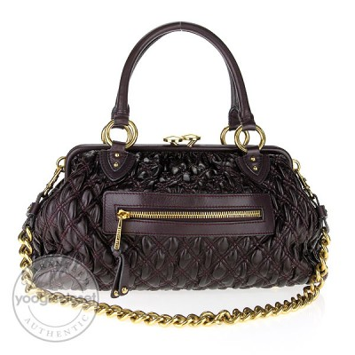 Marc Jacobs Plum Elastic Quilted Leather Stam Bag
