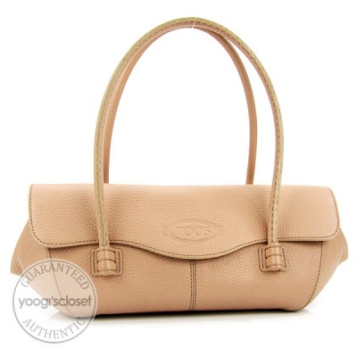 Tod's Pink Leather Corniche Wave East/West Small Shoulder Bag