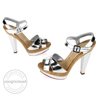 Christian Louboutin Silver Leather Lafalaise Double Platform Sandals Size 6