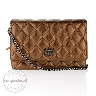 Chanel Bronze Metallic Quilted Leather Wallet on Chain Clutch Bag