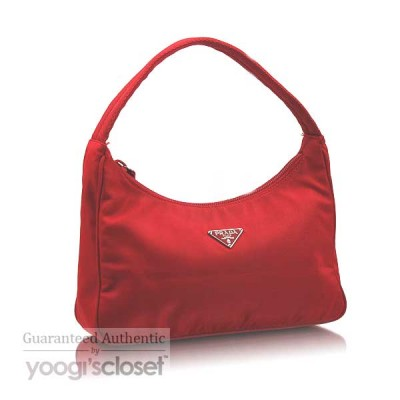 Prada Red Tessuto Nylon Hobo MV515  Bag