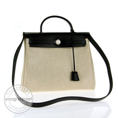 Hermes 30cm Toile/Black Leather Herbag PM 2-in-1 Bag