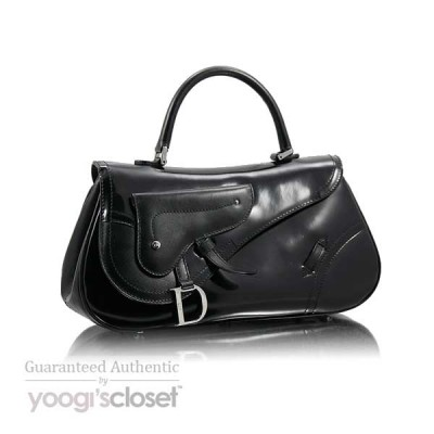 Christian Dior Black Patent Leather Saddle Bag