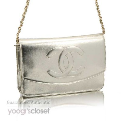 Chanel Light Silver Leather Wallet-Clutch Bag