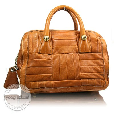 Chloe Tan Lambskin Patchwork Satchel Bag