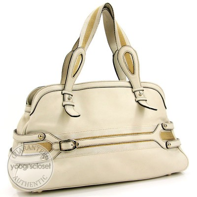 Gucci Cream Leather Wave Boston Bag