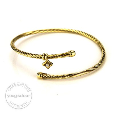 David Yurman 18K Yellow Gold Coil Diamond Charm Bracelet