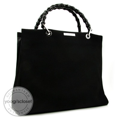 Gucci Black Nylon and Bamboo Work Tote Bag