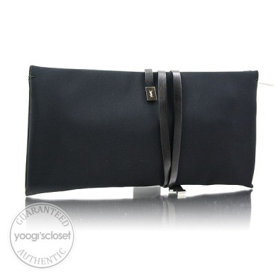 Yves Saint Laurent Black Nylon Large Clutch Bag
