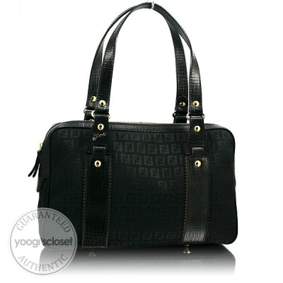 Fendi Black Zucchino Canvas Boston Bag