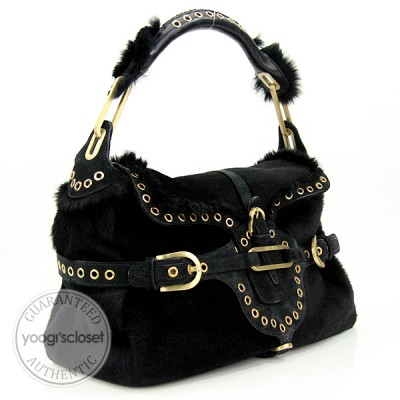 Jimmy Choo Black Fur Tulita Bag