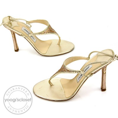 Jimmy Choo Gold and Glitter Strappy Sandal Heels Size 6