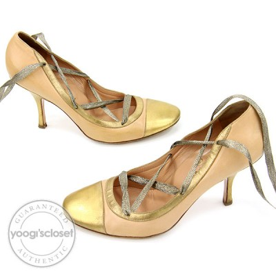 Chanel Nude and Gold Leather Lace-Up Ribbon Heels Size 8