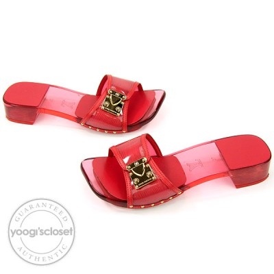Louis Vuitton Red Epi Plage Open-Toe Mules Size 6.5