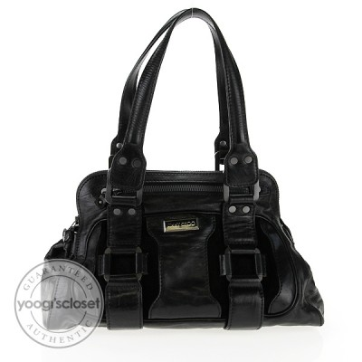 Jimmy Choo Black Leather Malena Satchel Bag