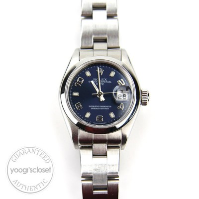 Rolex Stainless Steel Blue Dial Ladies 26mm Datejust 79160 Watch