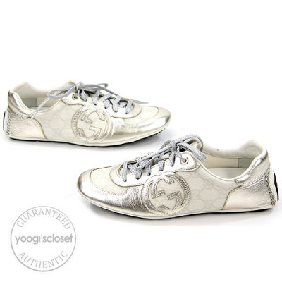 Gucci GG Coated Canvas Silver Leather Lace-up Sneakers Size 6.5