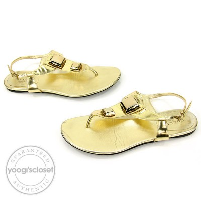 Gucci Metallic Gold Leather Flat Sandals Size 6.5