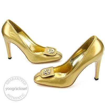 Gucci Gold Glitter Patent Leather Heels Size 9.5