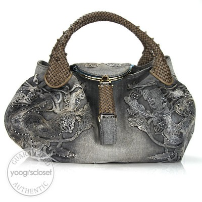 Fendi Limited Edition Grey Denim Embroidered Squirrel Spy Bag