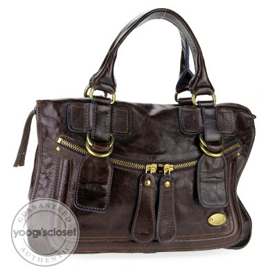 Chloe Brown Leather Large Bay Tote Bag