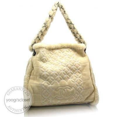 Chanel Light Beige Quilted Shearling Tote Bag and Accessory Pouch