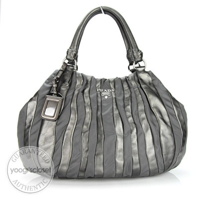 Prada Grafite Mordore Nappa Stripes Shoulder Bag BR3982
