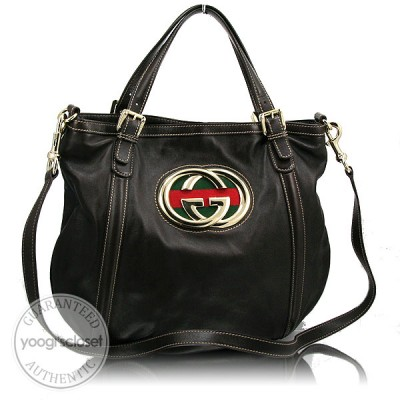 "Gucci Dark Brown Leather ""Britt"" Hobo Messenger Bag"