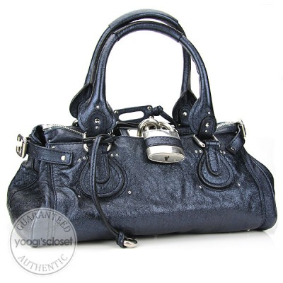 Chloe Metallic Midnight Paddington Satchel Bag