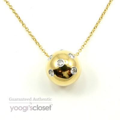 Tiffany & Co. 18K Gold Etoile Ball Diamond Pendant Necklace