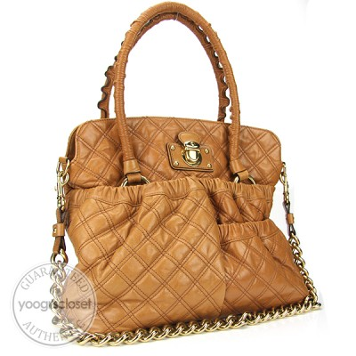 Marc Jacobs Beige Quilted Calfskin Leather Ryder Bag