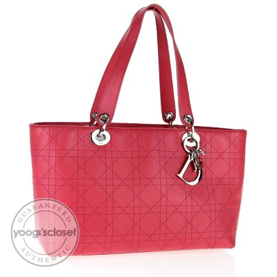 Christian Dior Rose Fonce Leather Lady Dior CannageTote Bag