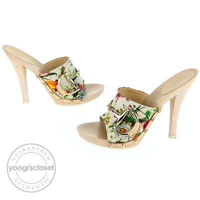 Gucci Horsebit Floral Canvas Open Toe Mules Heels Size 7