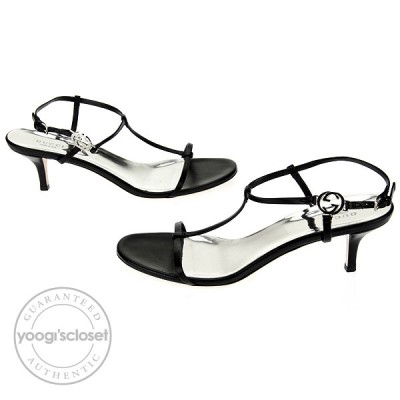 Gucci Black Nappa Leather Srappy Kitten Heel Sandals Size 9