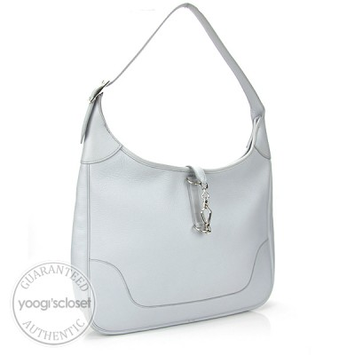 Hermes 35cm Sky Baby Blue Clemence Leather Trim II Bag