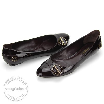 Louis Vuitton Amarante Patent Leather Sloane Flat Ballerina Shoes Size 6 N