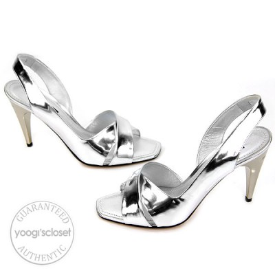 Louis Vuitton Metallic Silver Leather Open Toe Slingback Heels Size 5