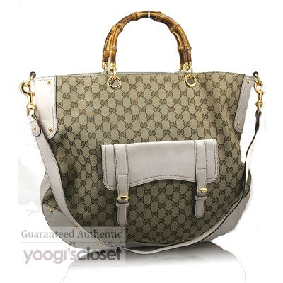 Gucci Beige/Ebony GG Fabric Bamboo Large Messenger Tote Bag