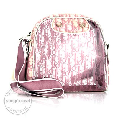 Christian Dior Pink Logo Clear Coated Canvas Messenger Bag