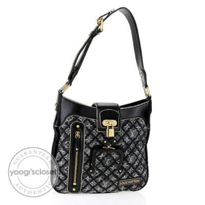 Louis Vuitton Limited Edition Black Quilted Monogram Denim Musette Bag