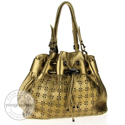 Burberry Gold Leather Prorsum Runway Large Studded Warrior Bag