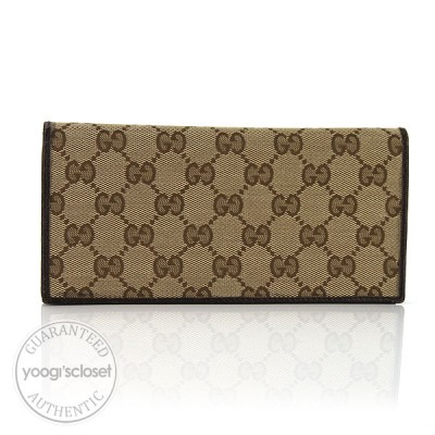 Gucci Beige/Ebony GG Fabric Long Snap Wallet