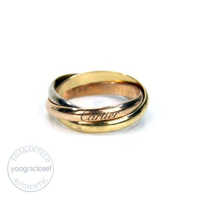 Cartier 18K Trinity Tri-Color Rolling Rings Size 6