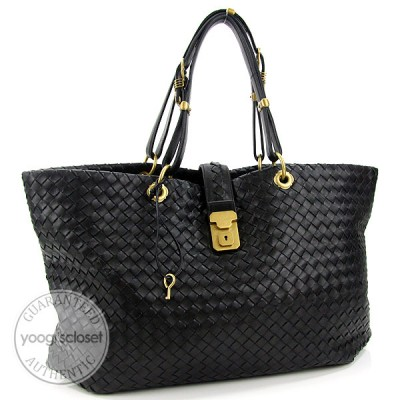 Bottega Veneta Black Woven Leather Large Capri Tote Bag