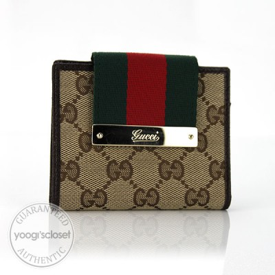 Gucci Beige/Ebony Mini Web Wallet