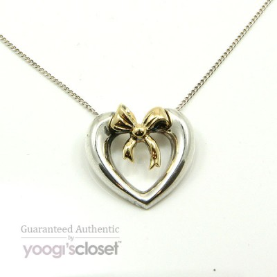 Tiffany & Co. Silver Heart with 18K Bow Necklace