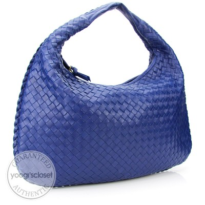 Bottega Veneta Cobalt Medium Veneta Woven Hobo Bag